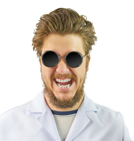 Crazy Doctor in white coat and black round sunglasses isolated. Halloween costume