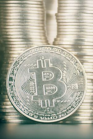 Fall of cryptocurrency. Large amount of bitcoin. Is it worth investing in crypto. Banco de Imagens