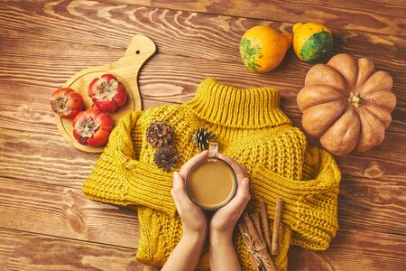 Pumpkin latte with spices decorated with knitted jacket and pumpkin. Standard-Bild