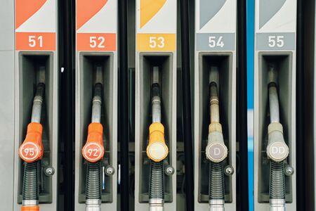 Gas station. Colorful Petrol pump filling nozzles. Reklamní fotografie