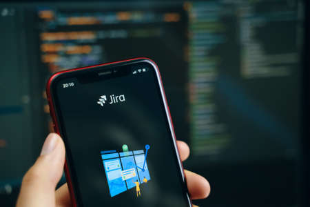 Bishkek, Kyrgyzstan - March 14, 2020: JIRA task manager software on apple iphone smartphone