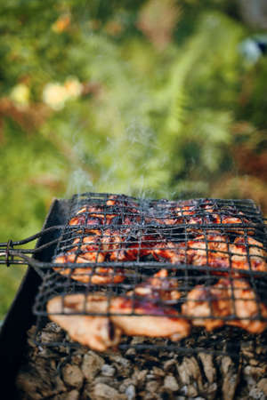BBQ with fiery chicken wings on the grill outdoor picnic. Spending time together with the family at the grill. Social meetings, friends. Juicy and well-grilled sausages. Vertical for mobile devices