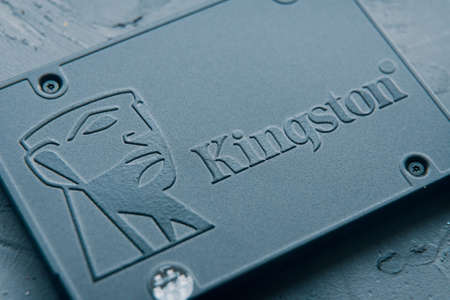 Close-up shot Kingston brand logo of fast Solid State Drive slight angle. Why ssd is better than hdd. Bishkek, Kyrgyzstan - June 27, 2020 新闻类图片