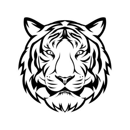 Tiger head line art with a white background