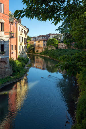 A short distance from Piazza dei Signori, the Retrone river passes under Ponte San Paolo. The buildings are reflected in the dark blue water. A gray heron immobile on the shore. Vicenza, Italy.
