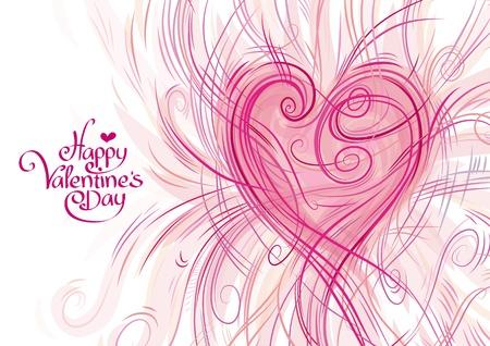 happy valentine s day: Greeting card for Valentine s Day Illustration