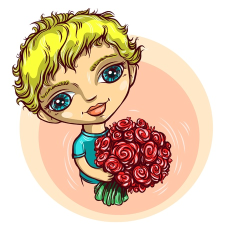 The blue-eyed boy with red flowers in hands Illustration