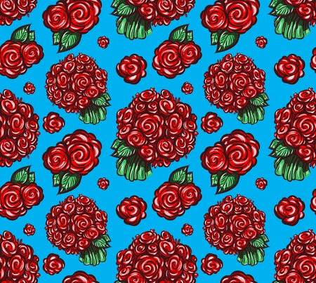 Seamless pattern of red roses on a blue background