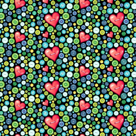 Seamless Pattern of colored buttons. Buttons in form of heart Illusztráció