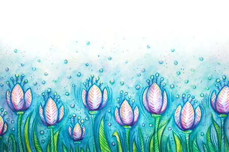 Pink tulips on a blue background in watercolor Stock Photo