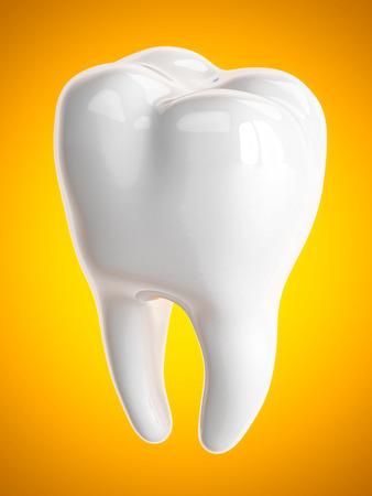 Tooth on a orange backgroun Stock Photo