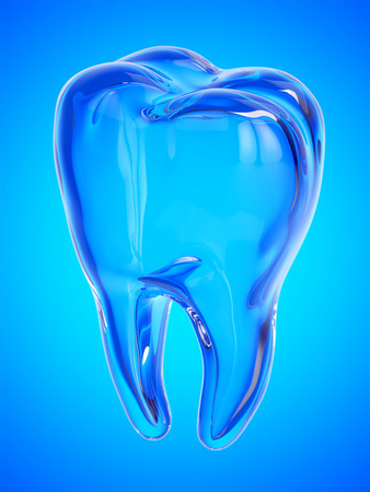 Tooth on a blue backgroun
