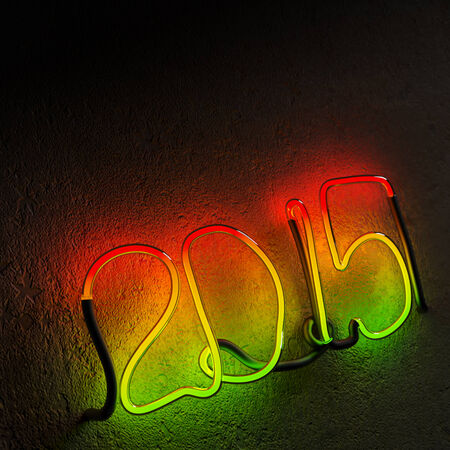 two thousand fifteenth year with colored neon Stock Photo