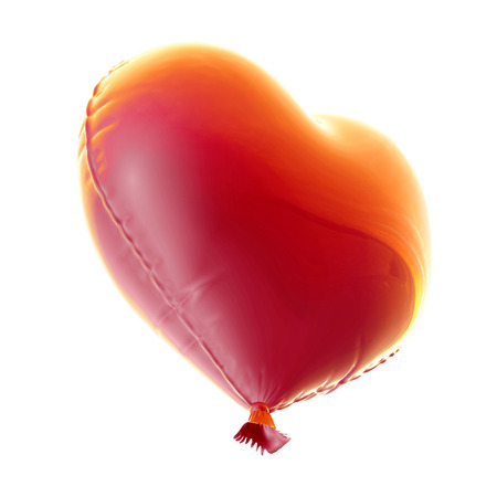 red balloon in heart shape for Valentines Day with a string isolated on white background. Stock Photo