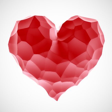 Red heart stone on Valentines Day isolated white background