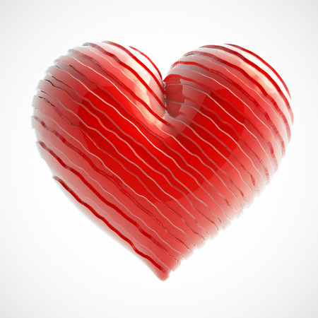 Red heart plastic strips on Valentines Day isolated white background