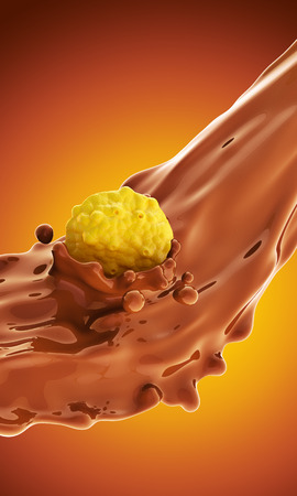 corn flakes: The falling corn flakes in hot chocolate splashes