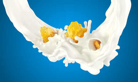 The falling corn flakes in milk splashes on a blue background Stock Photo
