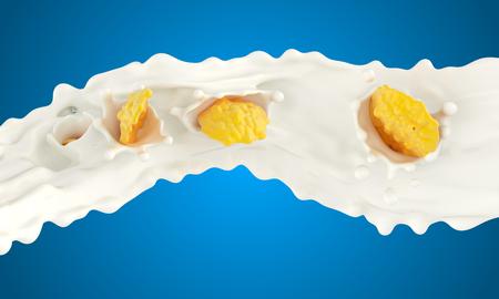 The falling corn flakes in milk splashes on a blue background Archivio Fotografico