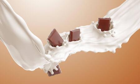 The piece of chocolate falling in a milk stream and splash Archivio Fotografico