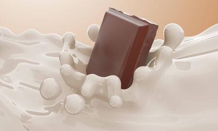 Het stuk van chocolade die in een melkstroom en splash Stockfoto