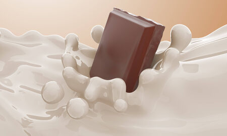 The piece of chocolate falling in a milk stream and splash Stock Photo