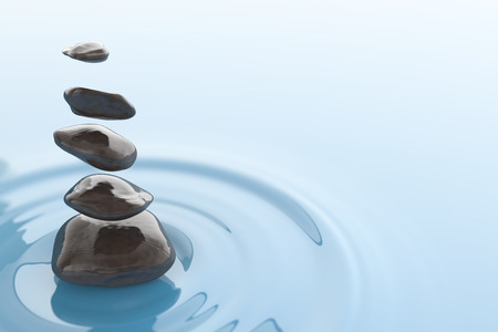 Magical stones floating over a water surface. Digital illustration. Zen Stock Photo