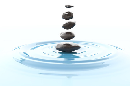 Magical stones floating over a water surface. Digital illustration. Zen Archivio Fotografico