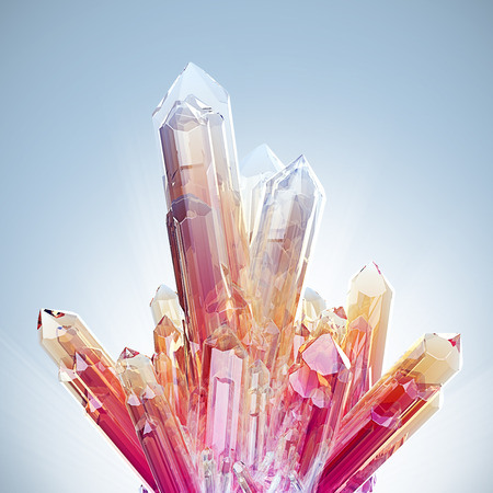 Red crystals of natural gemstone amethyst on a blue background