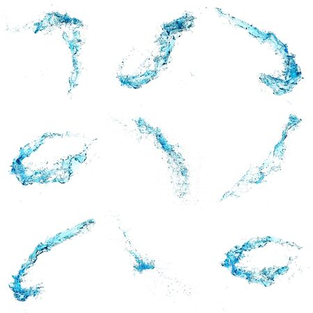 blue water splash isolated on white background. Sets