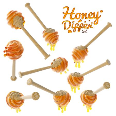 Honey dripping from a wooden honey dipper set isolated on white background Archivio Fotografico