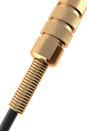 audio jack connector gold. audio a wire in the form of a spiral