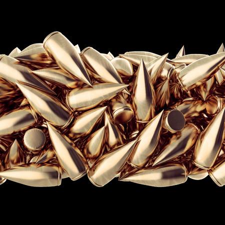 Golden scratched bullet in bulk. Background 3d render