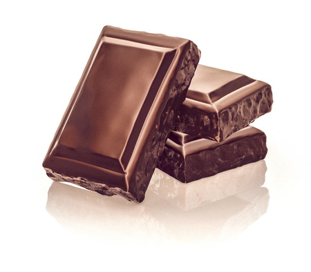 Chocolate blocks stack on white background. 3d illustration