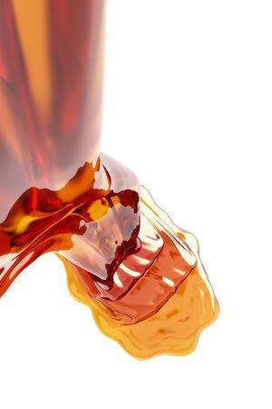 Honey flowing on white background.  3d illustration Stock Photo