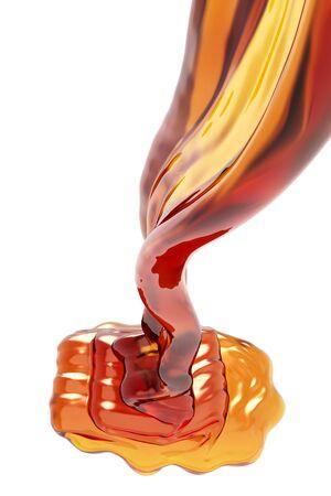 Honey flowing on white background.  3d illustration Archivio Fotografico