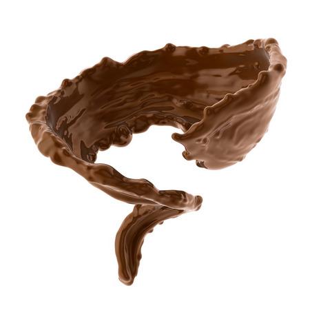 espiral: salpicaduras de caf� caliente o chocolate marr�n aisladas sobre fondo blanco