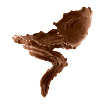 갈색 뜨거운 커피 나 초콜릿 시작 흰색 배경에 고립