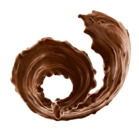 splash of brownish hot coffee or chocolate isolated on white background Stock Photo
