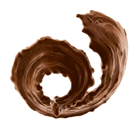 splash of brownish hot coffee or chocolate isolated on white background Archivio Fotografico