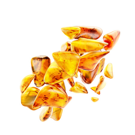 Beautiful and shimmering baltic amber stone on white background.