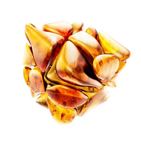 Bella e scintillante pietra d'ambra baltica su sfondo bianco. Archivio Fotografico - 46938217