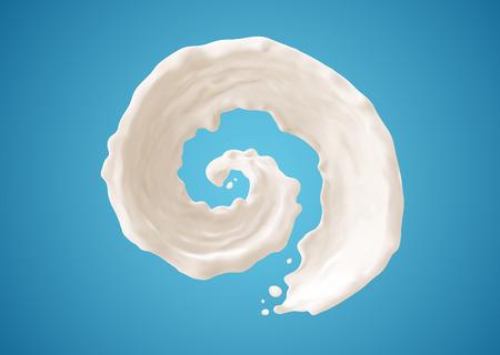 ミルクに分離された青い背景が跳ねます。グラデーション メッシュ。