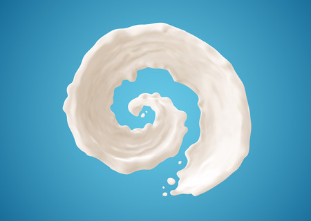 pouring milk: Milk splashes isolated on blue background. Gradient Mesh.