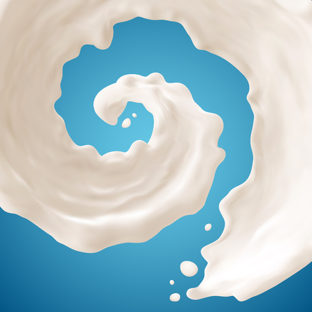 Milk splashes  on blue background. Gradient Mesh. EPS10.