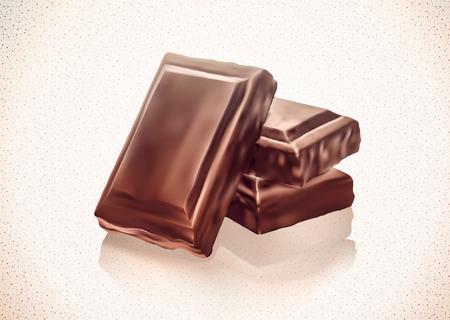 Pila de bloques de chocolate en el fondo blanco. Gradiente de malla. EPS10. Ilustración de vector