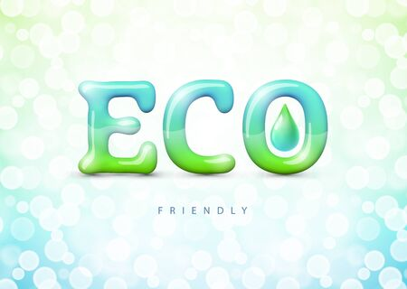 Eco friendly label on background with bokeh. Illustration