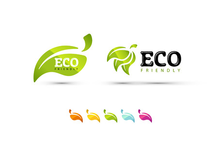 save button: Ecology icons set and colored leaves. EPS10. Illustration