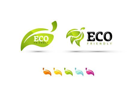 Iconos de ecología conjunto y hojas de color. EPS10. Foto de archivo - 53835628