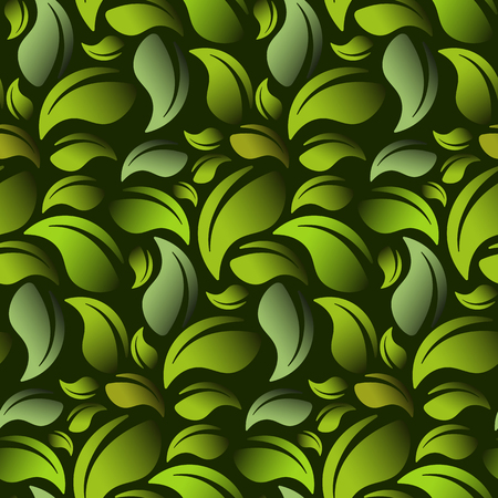 Green leaves on a green background seamless vector illustration. Vector EPS10.